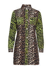 Print Denim Shirt Dress