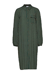 Printed Crepe Shirt Dress - TIGER'S EYE