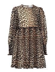 Pleated Georgette Mini Dress - LEOPARD