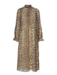 Pleated Georgette Dress - LEOPARD