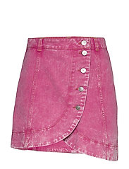 Washed Denim - FUCHSIA RED