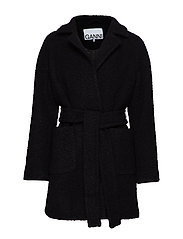 Boucle Wool Wrap Coat - BLACK
