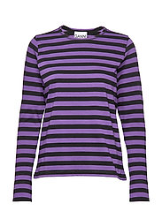 Striped Cotton Jersey - DEEP LAVENDER