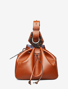 Leather Large Drawstring Bag - COGNAC