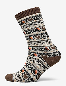 Jacquard Socks - CHICORY COFFEE