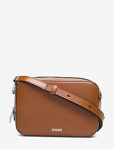 Textured Leather Bag - axelremsväskor - cognac