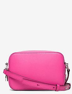 Textured Leather Bag - axelremsväskor - shocking pink