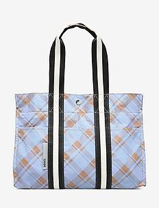 Check Print Bags Tote - tannin