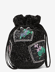 Hand Beaded Accessories - bucket bags - black