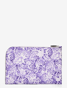 Printed Leather - korthållare - violet tulip
