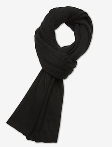 Recycled Wool Knit - scarves - black