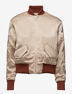 Leclair Satin Bomber - bomber jacks - cuban sand