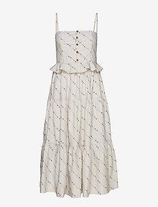 Printed Cotton Poplin Dress - midi kjoler - vapor blue