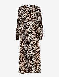 Silk Stretch Satin Wrap Dress - wrap dresses - leopard