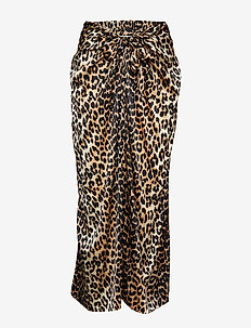 Silk Stretch Satin Skirt - maxi röcke - leopard