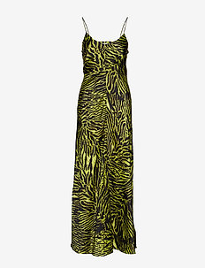 Silk Stretch Satin Slip Dress - LIME TIGER