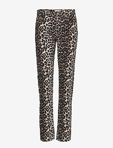 Print Denim Slit Pants - LEOPARD