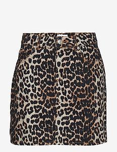 Print Denim Skirt - spódnice mini - leopard