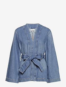 Washed Denim Kimono Short Jacket - BLEACHED DENIM
