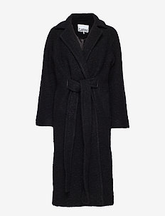 Boucle Wool Long Wrap Coat - BLACK