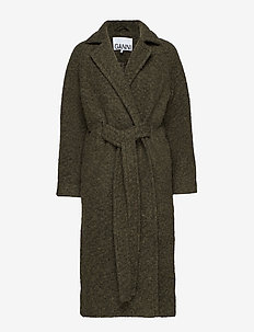 Boucle Wool Long Wrap Coat - KALAMATA