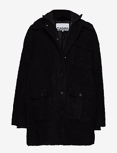 Boucle Wool Jacket - BLACK