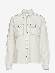 Washed Denim Utility Shirt - BRIGHT WHITE
