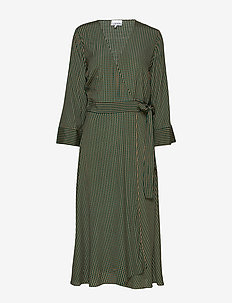 Printed Crepe Wrap Dress - TIGER'S EYE