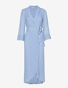Printed Georgette Wrap Dress - FOREVER BLUE