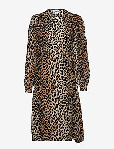 Silk Mix Wrap Dress - LEOPARD