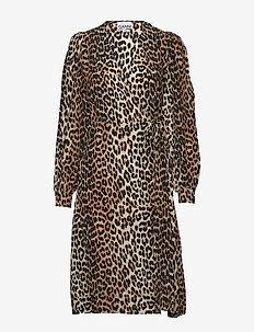 Silk Mix Wrap Dress - LEOPARD