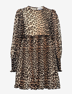 Pleated Georgette Mini Dress - LEOPARD