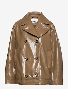 Patent Oversized Jacket - leather jackets - ermine