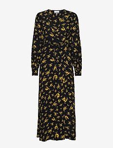 Printed Crepe Wrap Dress - omlottklänning - black