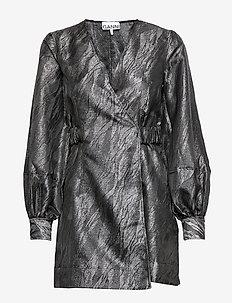 Jacquard - wikkel jurken - black
