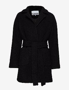 Boucle Wool Wrap Coat - ulljackor - black