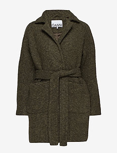 Boucle Wool Wrap Coat - KALAMATA