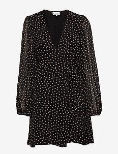 Printed Georgette - omlottklänning - black