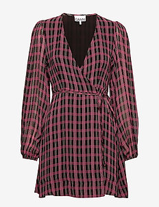 Printed Georgette - robes portefeuille - fuchsia red