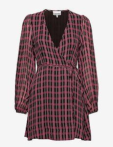 Printed Georgette - slå-om-kjoler - fuchsia red