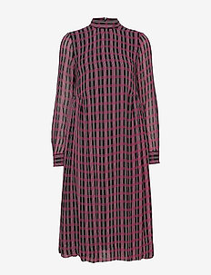 Printed Georgette - midi dresses - fuchsia red