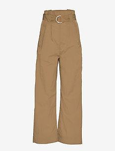 Crinkled Tech - wide leg trousers - ermine