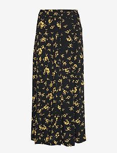 Printed Crepe Skirt - midi-röcke - black