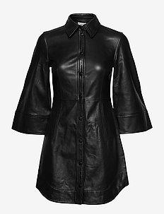 Lamb Leather - shirt dresses - black