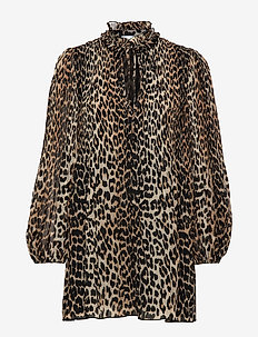Pleated Georgette - party dresses - leopard