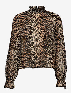Pleated Georgette - long sleeved blouses - leopard