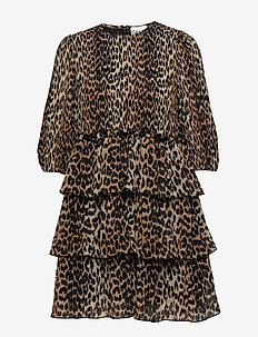 Pleated Georgette - short dresses - leopard