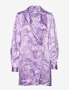 Heavy Satin - robes portefeuille - violet tulip