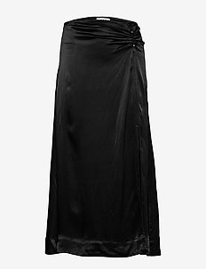 Heavy Satin - midi skirts - black
