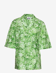 Printed Cotton Poplin - ISLAND GREEN